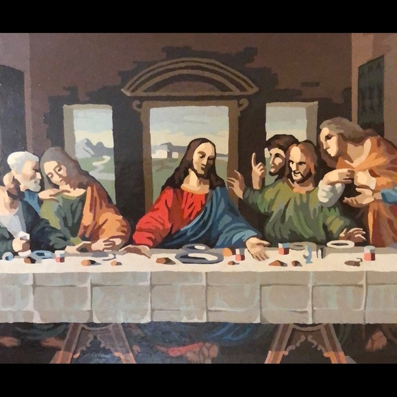 DaVinci Last Supper Acrylic Hand-Paint Framed